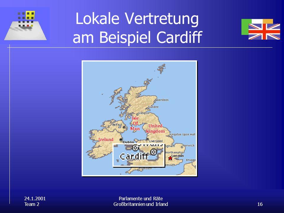 24.1.2001 Team 2 16 Parlamente und Räte Großbritannien und Irland Lokale Vertretung am Beispiel Cardiff