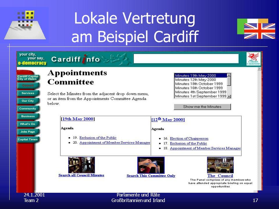 24.1.2001 Team 2 17 Parlamente und Räte Großbritannien und Irland Lokale Vertretung am Beispiel Cardiff