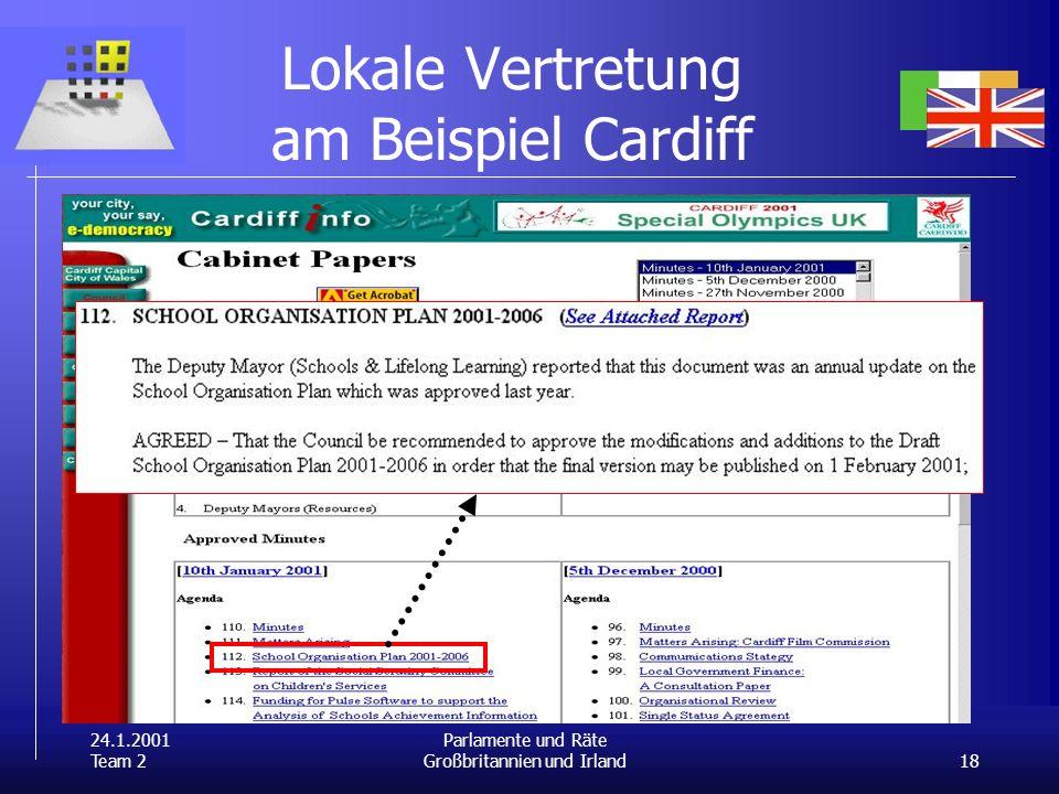 24.1.2001 Team 2 18 Parlamente und Räte Großbritannien und Irland Lokale Vertretung am Beispiel Cardiff
