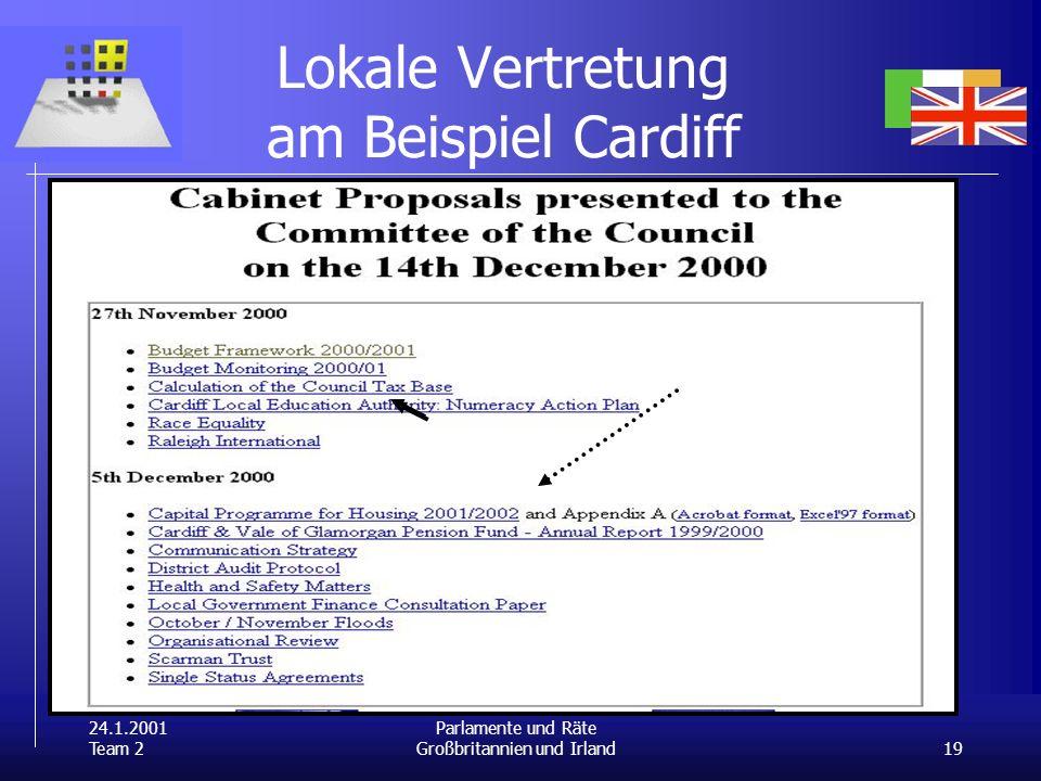 24.1.2001 Team 2 19 Parlamente und Räte Großbritannien und Irland Lokale Vertretung am Beispiel Cardiff