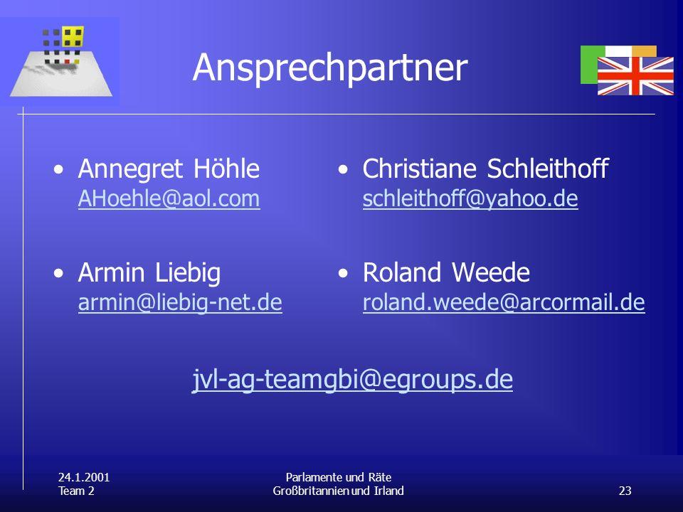 24.1.2001 Team 2 23 Parlamente und Räte Großbritannien und Irland Ansprechpartner Annegret Höhle AHoehle@aol.com AHoehle@aol.com Armin Liebig armin@liebig-net.de armin@liebig-net.de Christiane Schleithoff schleithoff@yahoo.de schleithoff@yahoo.de Roland Weede roland.weede@arcormail.de roland.weede@arcormail.de jvl-ag-teamgbi@egroups.de