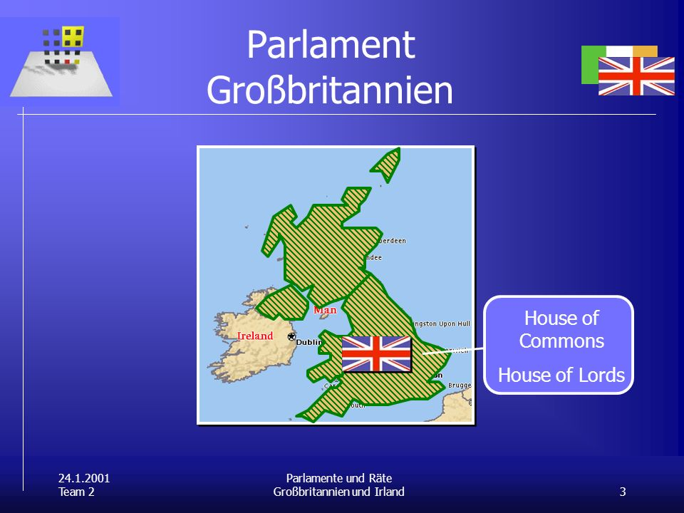 24.1.2001 Team 2 3 Parlamente und Räte Großbritannien und Irland Parlament Großbritannien House of Commons House of Lords Schottisches Regional- parlament