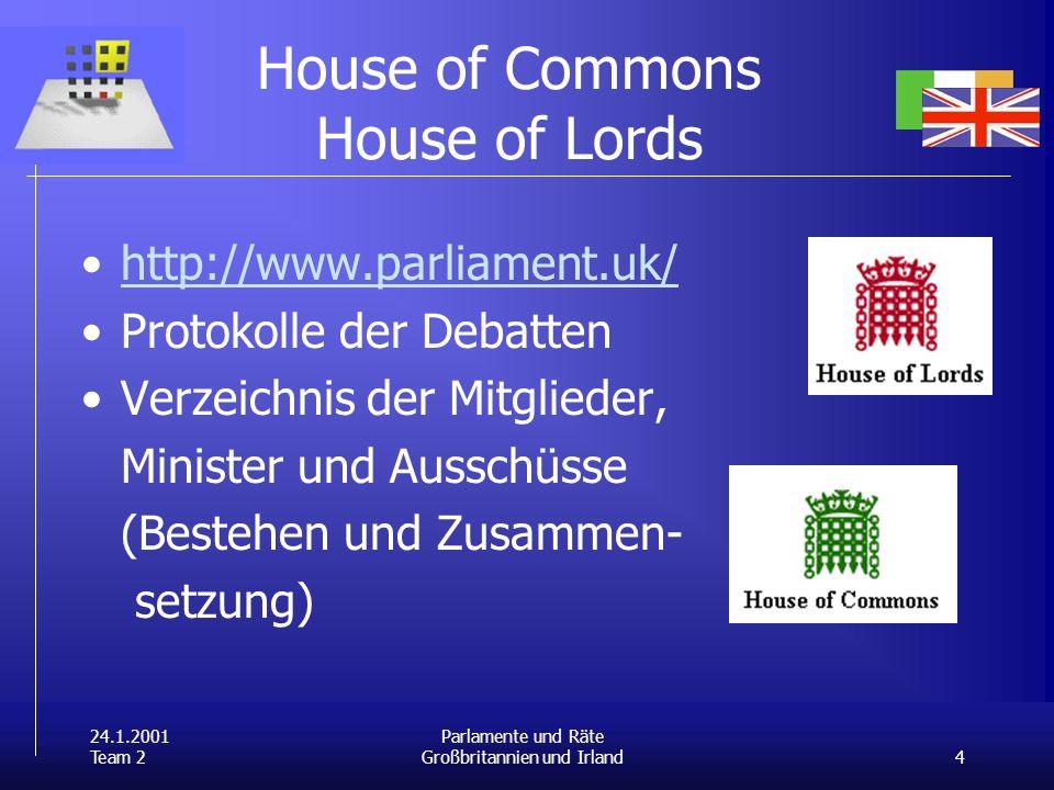 24.1.2001 Team 2 4 Parlamente und Räte Großbritannien und Irland House of Commons House of Lords http://www.parliament.uk/ Protokolle der Debatten Ver