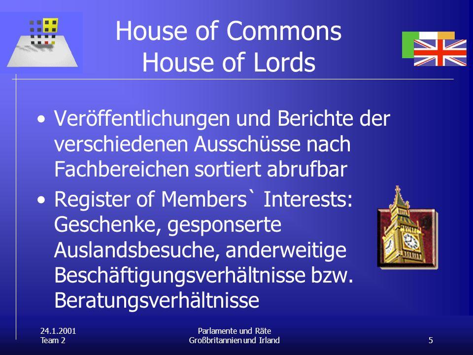 24.1.2001 Team 2 5 Parlamente und Räte Großbritannien und Irland House of Commons House of Lords Veröffentlichungen und Berichte der verschiedenen Aus