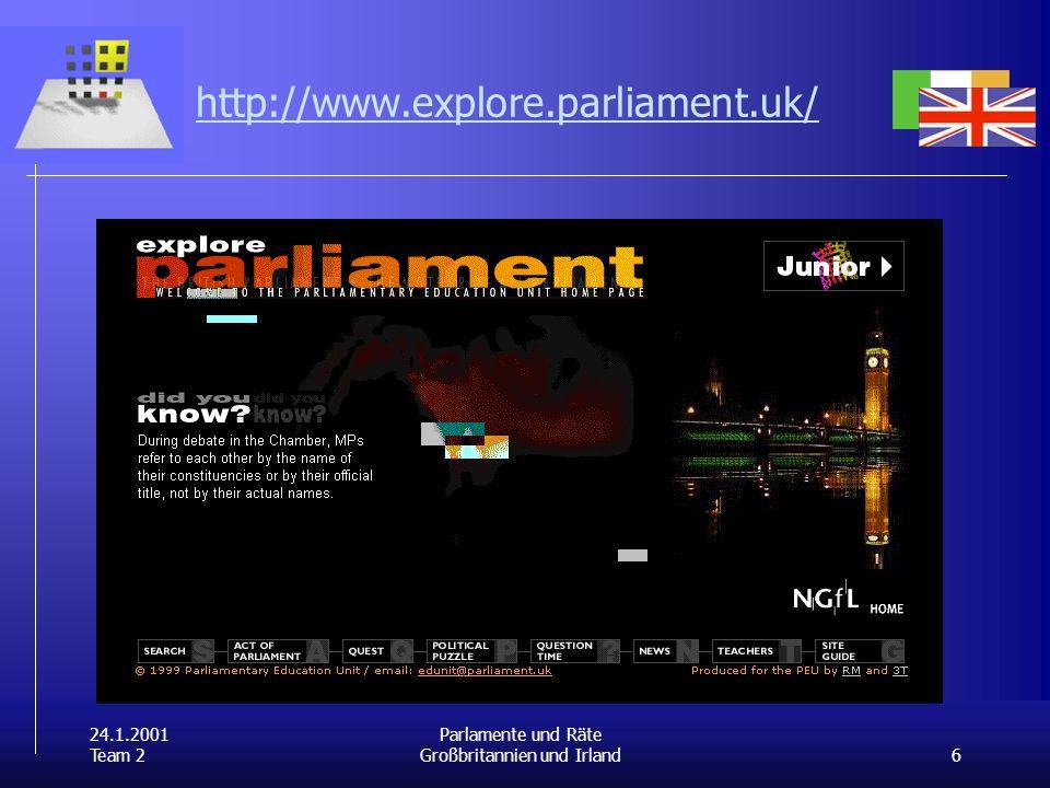 24.1.2001 Team 2 6 Parlamente und Räte Großbritannien und Irland http://www.explore.parliament.uk/