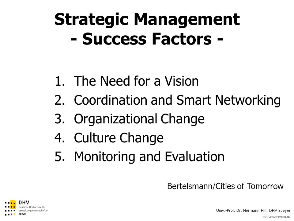 TOP_GoodGovernance.ppt Univ.-Prof. Dr. Hermann Hill, DHV Speyer Strategic Management - Success Factors - 1.The Need for a Vision 2.Coordination and Sm