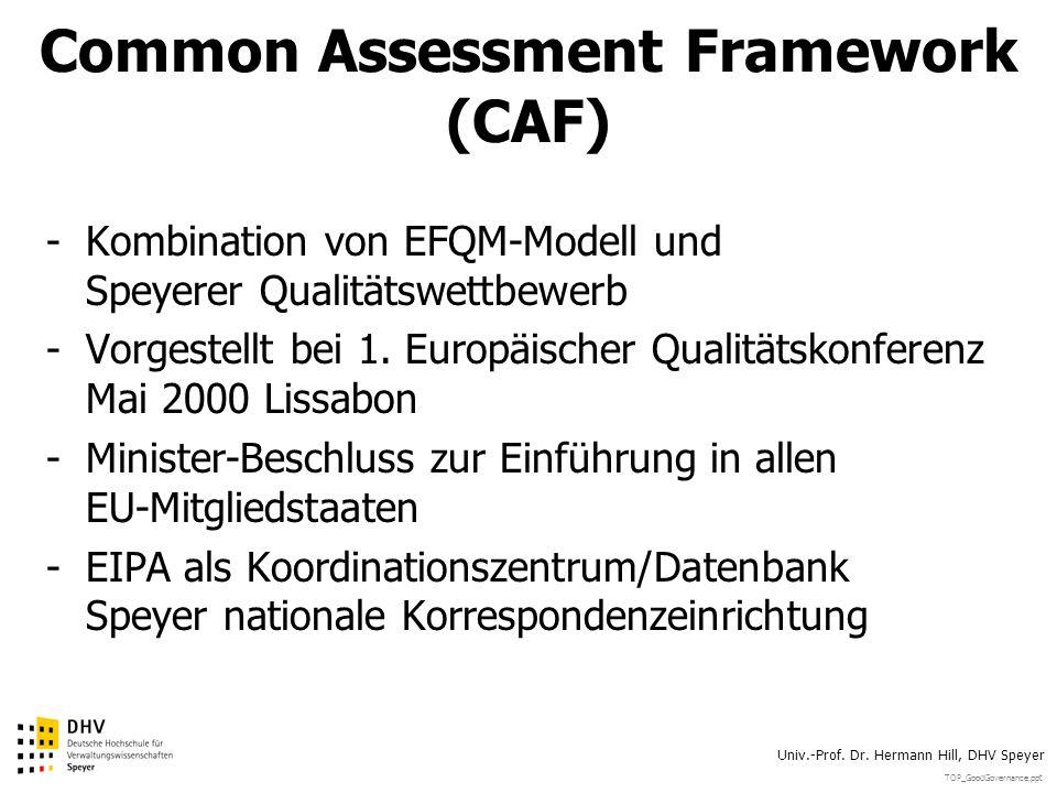 TOP_GoodGovernance.ppt Univ.-Prof. Dr. Hermann Hill, DHV Speyer Common Assessment Framework (CAF) -Kombination von EFQM-Modell und Speyerer Qualitätsw