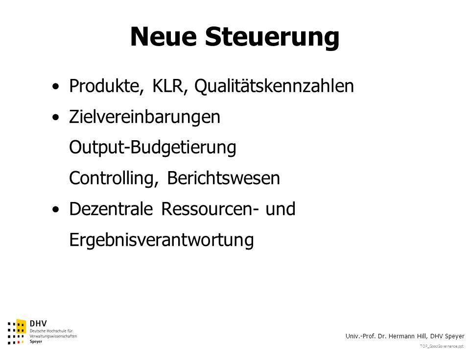 TOP_GoodGovernance.ppt Univ.-Prof. Dr. Hermann Hill, DHV Speyer Neue Steuerung Produkte, KLR, Qualitätskennzahlen Zielvereinbarungen Output-Budgetieru