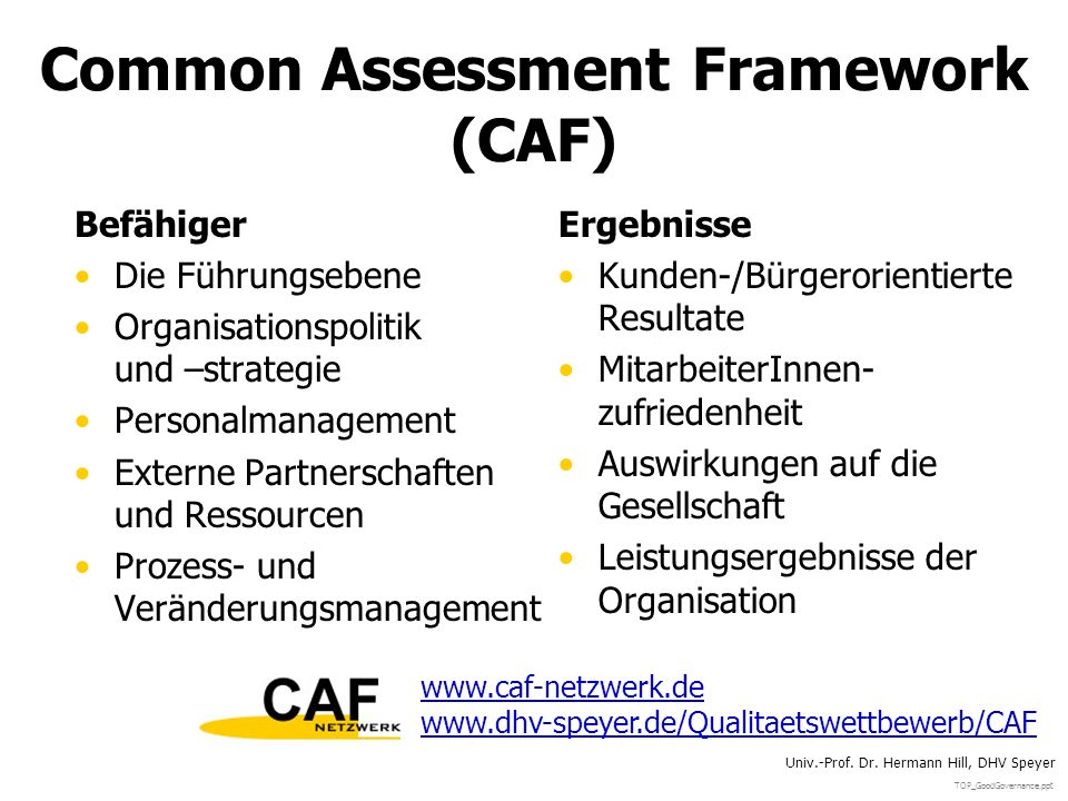 TOP_GoodGovernance.ppt Univ.-Prof. Dr. Hermann Hill, DHV Speyer Common Assessment Framework (CAF) Befähiger Die Führungsebene Organisationspolitik und