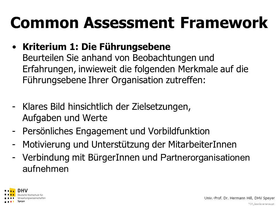 TOP_GoodGovernance.ppt Univ.-Prof. Dr. Hermann Hill, DHV Speyer Common Assessment Framework Kriterium 1: Die Führungsebene Beurteilen Sie anhand von B