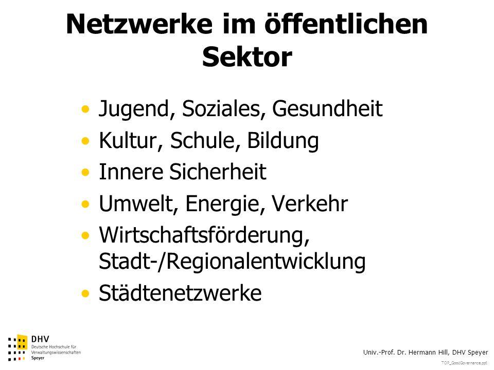 TOP_GoodGovernance.ppt Univ.-Prof. Dr. Hermann Hill, DHV Speyer Netzwerke im öffentlichen Sektor Jugend, Soziales, Gesundheit Kultur, Schule, Bildung