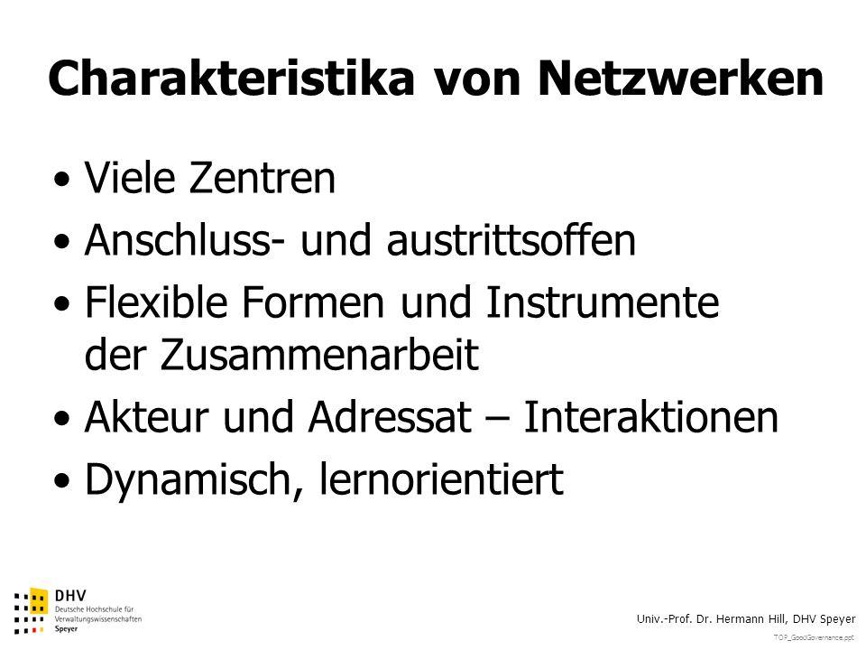 TOP_GoodGovernance.ppt Univ.-Prof. Dr. Hermann Hill, DHV Speyer Charakteristika von Netzwerken Viele Zentren Anschluss- und austrittsoffen Flexible Fo