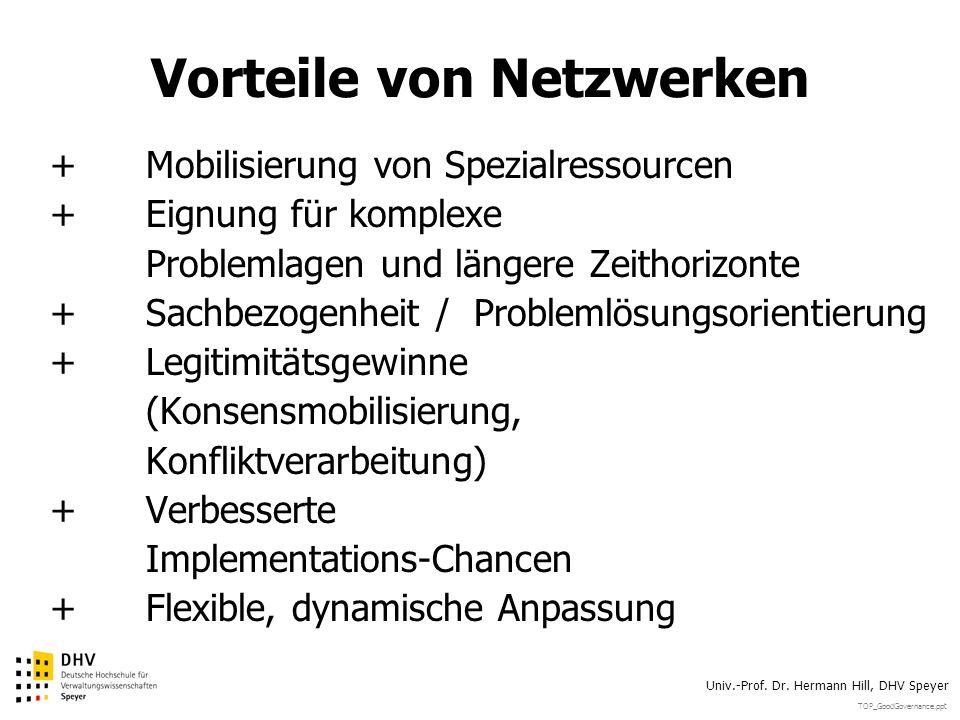 TOP_GoodGovernance.ppt Univ.-Prof. Dr. Hermann Hill, DHV Speyer Vorteile von Netzwerken +Mobilisierung von Spezialressourcen +Eignung für komplexe Pro