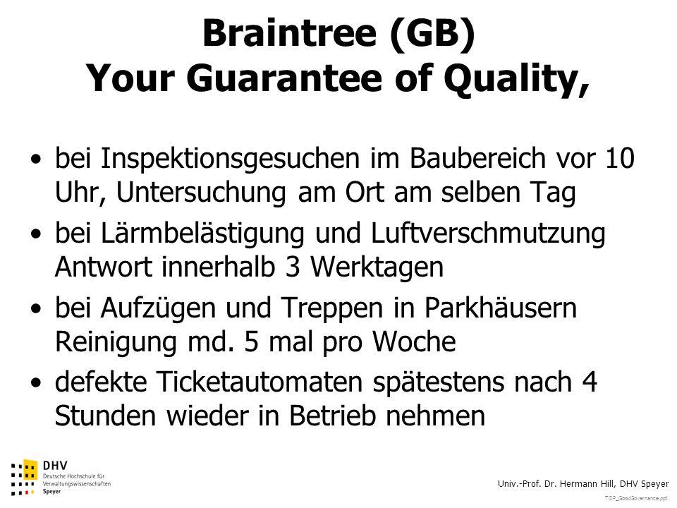 TOP_GoodGovernance.ppt Univ.-Prof. Dr. Hermann Hill, DHV Speyer Braintree (GB) Your Guarantee of Quality, bei Inspektionsgesuchen im Baubereich vor 10