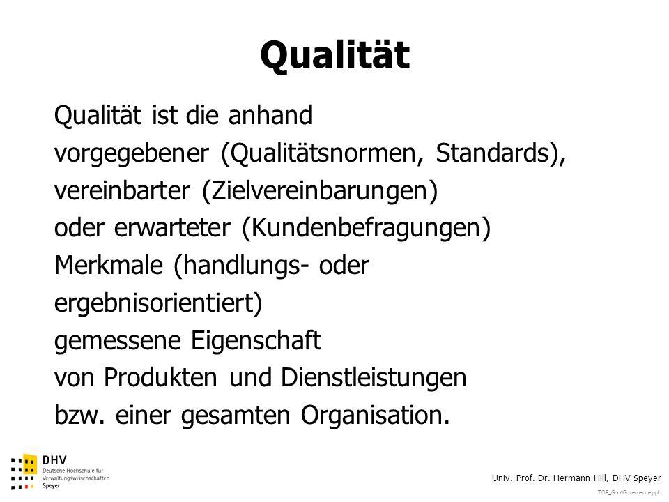 TOP_GoodGovernance.ppt Univ.-Prof. Dr. Hermann Hill, DHV Speyer Qualität Qualität ist die anhand vorgegebener (Qualitätsnormen, Standards), vereinbart