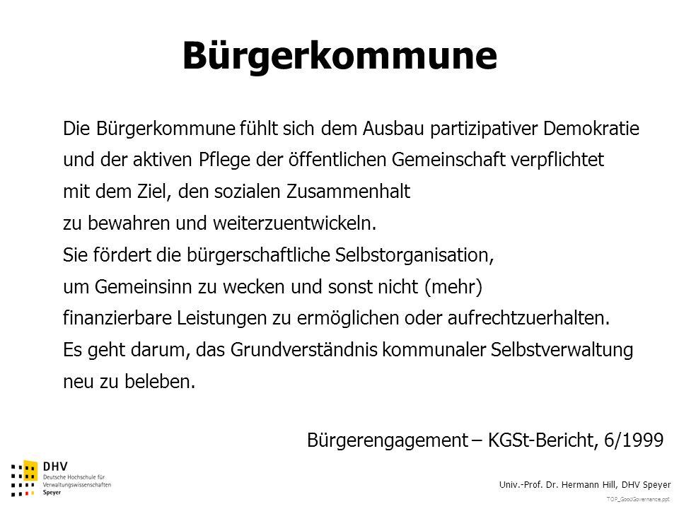 TOP_GoodGovernance.ppt Univ.-Prof. Dr. Hermann Hill, DHV Speyer Bürgerkommune Die Bürgerkommune fühlt sich dem Ausbau partizipativer Demokratie und de