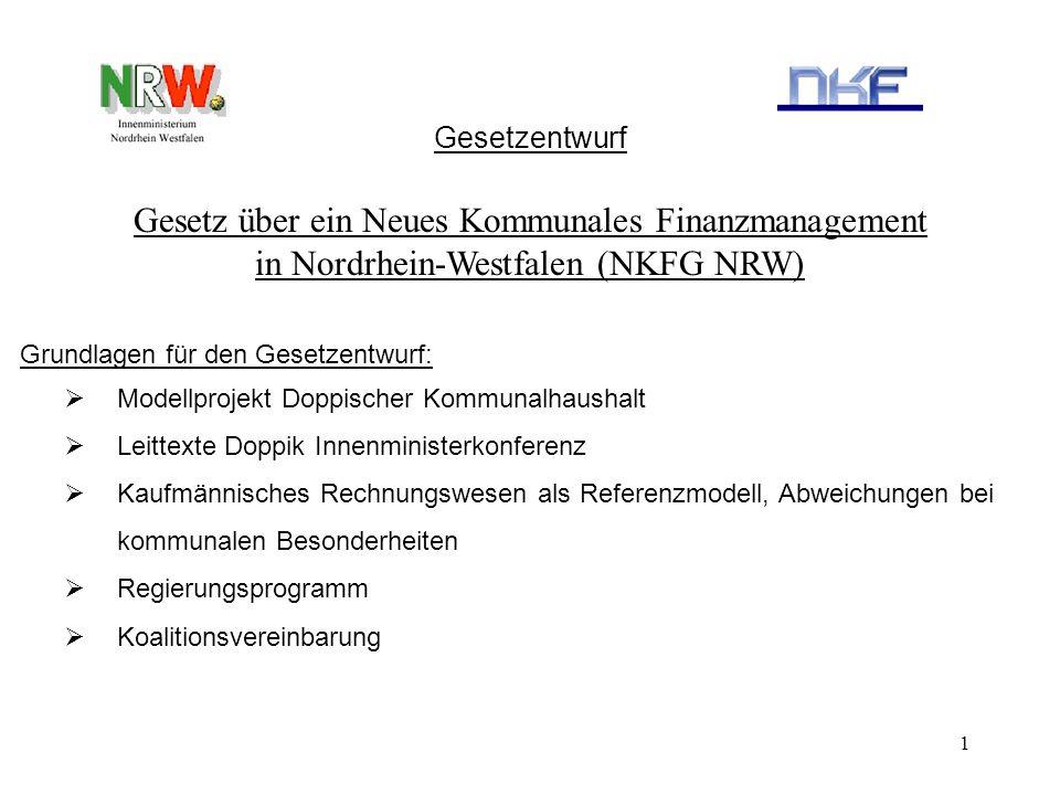 1 Gesetz über ein Neues Kommunales Finanzmanagement in Nordrhein-Westfalen (NKFG NRW) Grundlagen für den Gesetzentwurf: Modellprojekt Doppischer Kommu