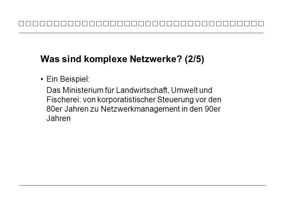Ein Beispiel: Das Ministerium für Landwirtschaft, Umwelt und Fischerei: von korporatistischer Steuerung vor den 80er Jahren zu Netzwerkmanagement in den 90er Jahren Was sind komplexe Netzwerke.