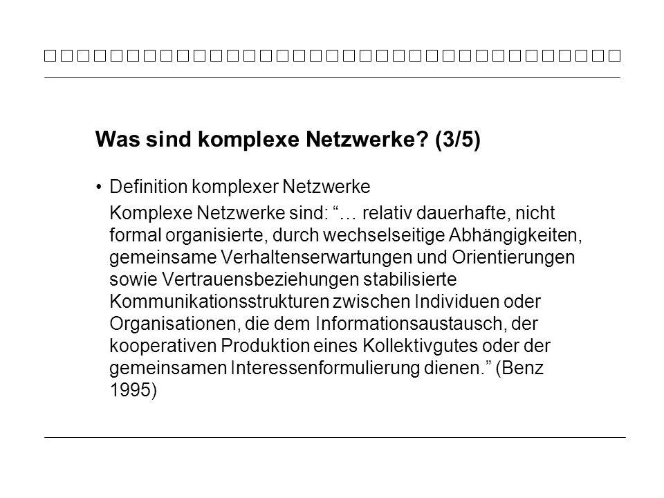 Definition komplexer Netzwerke Komplexe Netzwerke sind: … relativ dauerhafte, nicht formal organisierte, durch wechselseitige Abhängigkeiten, gemeinsa