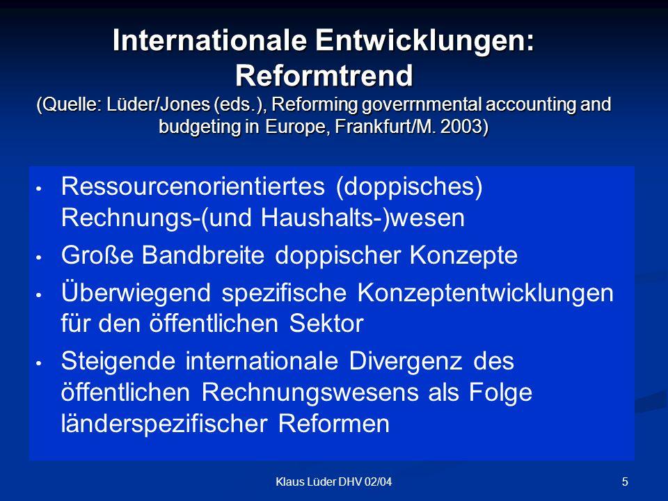6Klaus Lüder DHV 02/04 Internationale Entwicklungen: Reformstand 1970/80 1970/80 1990 1990 Nach 2000 Noch nicht begonnen KommunaleEbene CH, NL, S E, F, FIN, UK I, D Staatliche Ebene E, FIN, S, UK CH, F, EC D, I, NL
