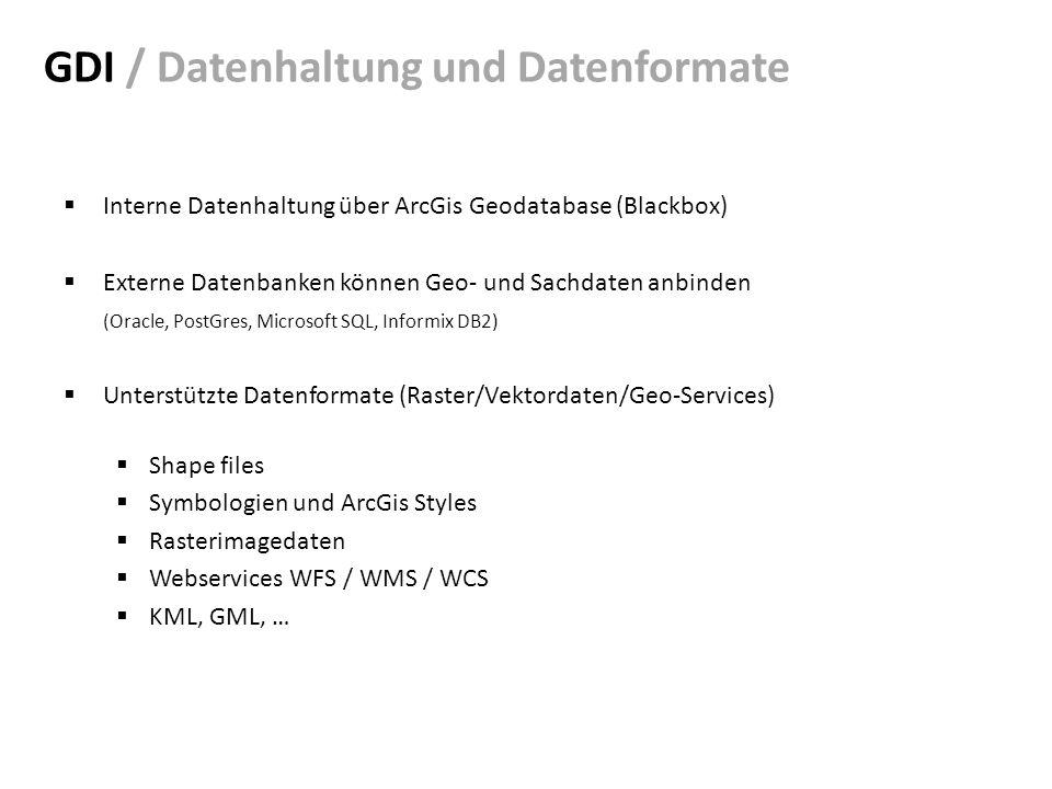 GDI / Datenhaltung und Datenformate Interne Datenhaltung über ArcGis Geodatabase (Blackbox) Externe Datenbanken können Geo- und Sachdaten anbinden (Oracle, PostGres, Microsoft SQL, Informix DB2) Unterstützte Datenformate (Raster/Vektordaten/Geo-Services) Shape files Symbologien und ArcGis Styles Rasterimagedaten Webservices WFS / WMS / WCS KML, GML, …