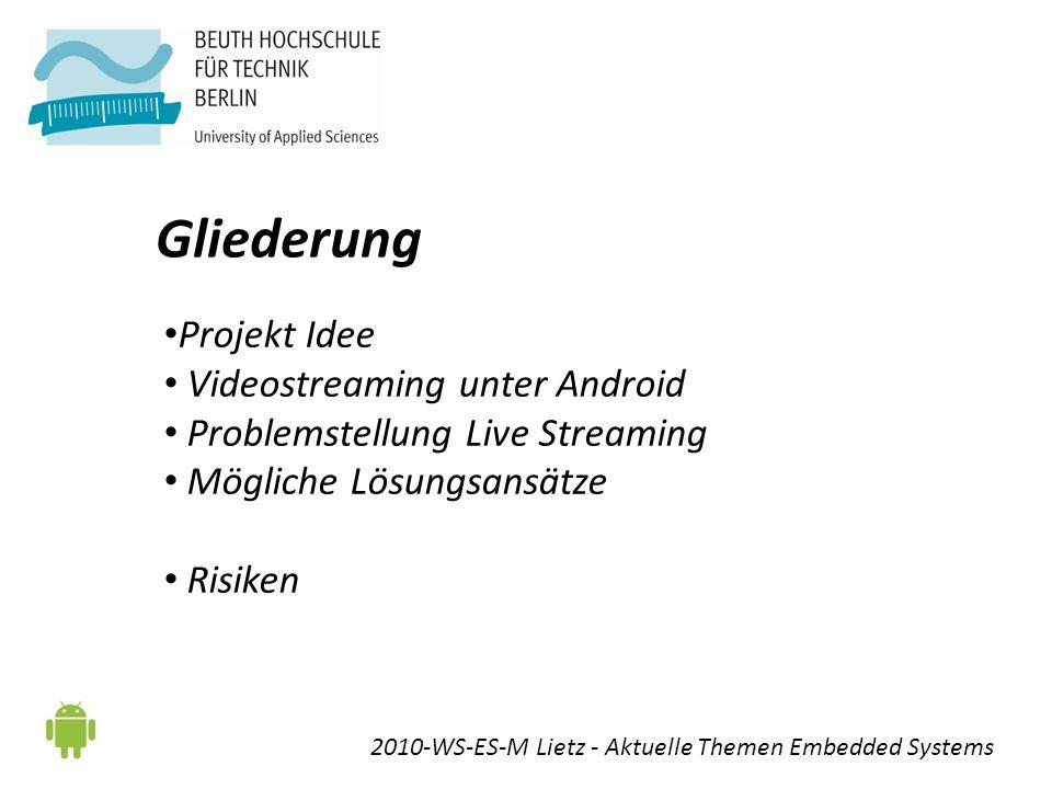 Gliederung Projekt Idee Videostreaming unter Android Problemstellung Live Streaming Mögliche Lösungsansätze Risiken 2010-WS-ES-M Lietz - Aktuelle Themen Embedded Systems