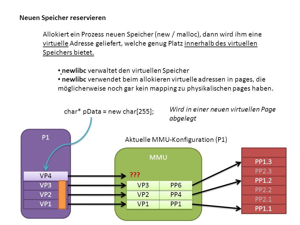 Neuen Speicher reservieren Allokiert ein Prozess neuen Speicher (new / malloc), dann wird ihm eine virtuelle Adresse geliefert, welche genug Platz innerhalb des virtuellen Speichers bietet.