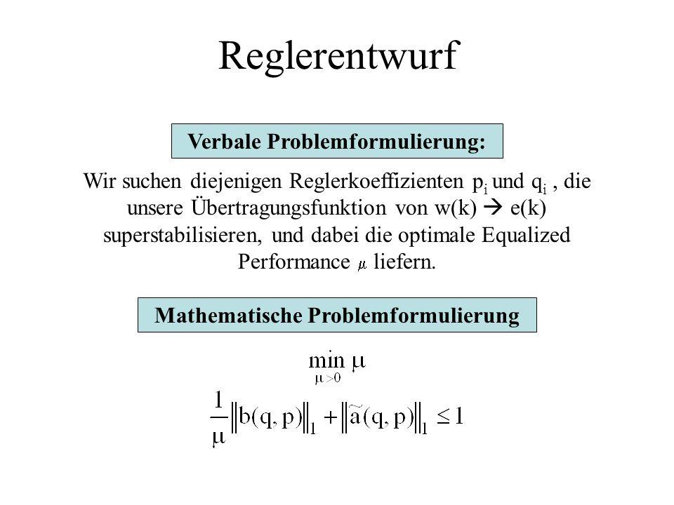 Reglerentwurf 1.) Ziel des Reglers: Auswirkung der Störung w(k) auf Ausgang e(k) optimal unterdrücken. 3.) Problem läßt sich mich LP lösen wird außerh