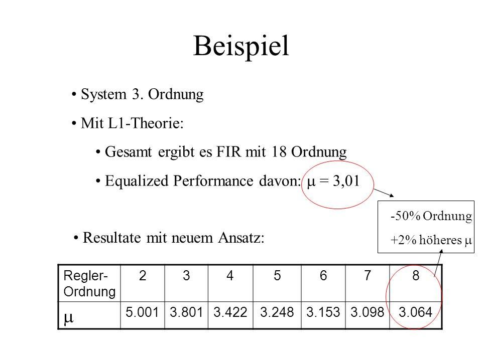 Reglerentwurf Wir suchen diejenigen Reglerkoeffizienten p i und q i, die unsere Übertragungsfunktion von w(k) e(k) superstabilisieren, und dabei die o