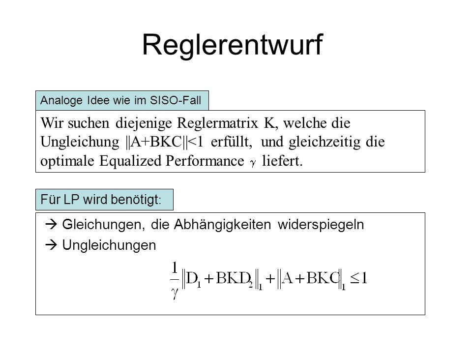 Reglerentwurf Statische Regler Strecke D2 D1 u(k) d(k) y(k) K