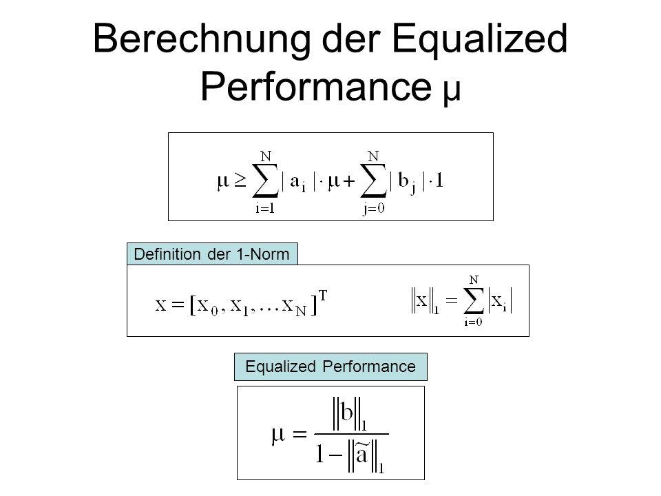 Berechnung der Equalized Performance μ Eingang w(k) LTI Ausgang e(k) Abschätzungen: bzw. Zugehöriges ARMA Modell