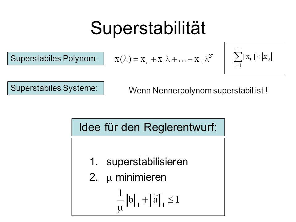 Zusammenfassung - SISO Liefert gute Ergebnisse im Störentwurf Ordnung kann vorgegeben werden Anfangszustände ungleich Null möglich Lösung mit LP möglich Vergleich mit L1-Theorie – niedere Ordnungen Stellgrößenbeschränkung Robustheitsforderungen