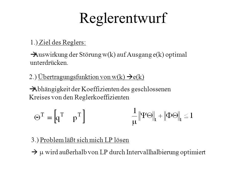 Reglerentwurf 1.) Ziel des Reglers: Auswirkung der Störung w(k) auf Ausgang e(k) optimal unterdrücken.