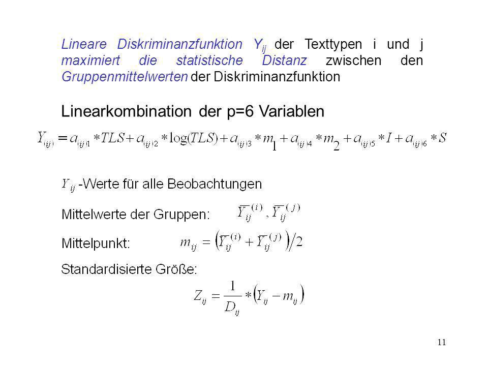 11 Lineare Diskriminanzfunktion Y ij der Texttypen i und j maximiert die statistische Distanz zwischen den Gruppenmittelwerten der Diskriminanzfunktio