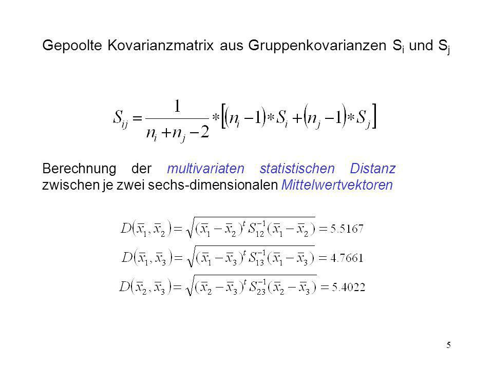 5 Gepoolte Kovarianzmatrix aus Gruppenkovarianzen S i und S j Berechnung der multivariaten statistischen Distanz zwischen je zwei sechs-dimensionalen