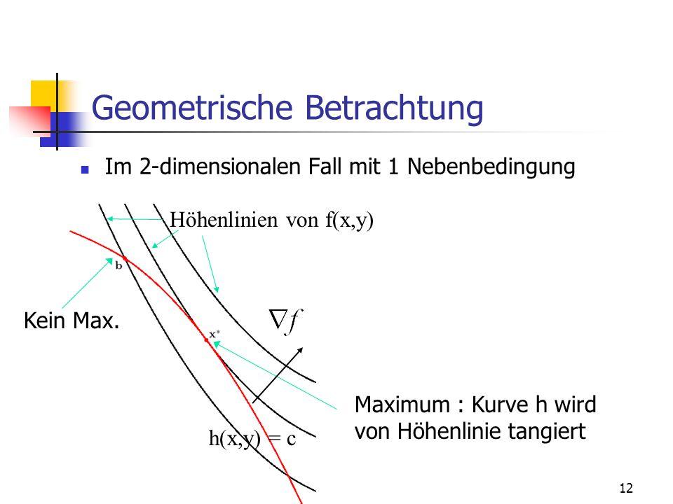 12 Geometrische Betrachtung Im 2-dimensionalen Fall mit 1 Nebenbedingung h(x,y) = c Höhenlinien von f(x,y) Maximum : Kurve h wird von Höhenlinie tangiert Kein Max.