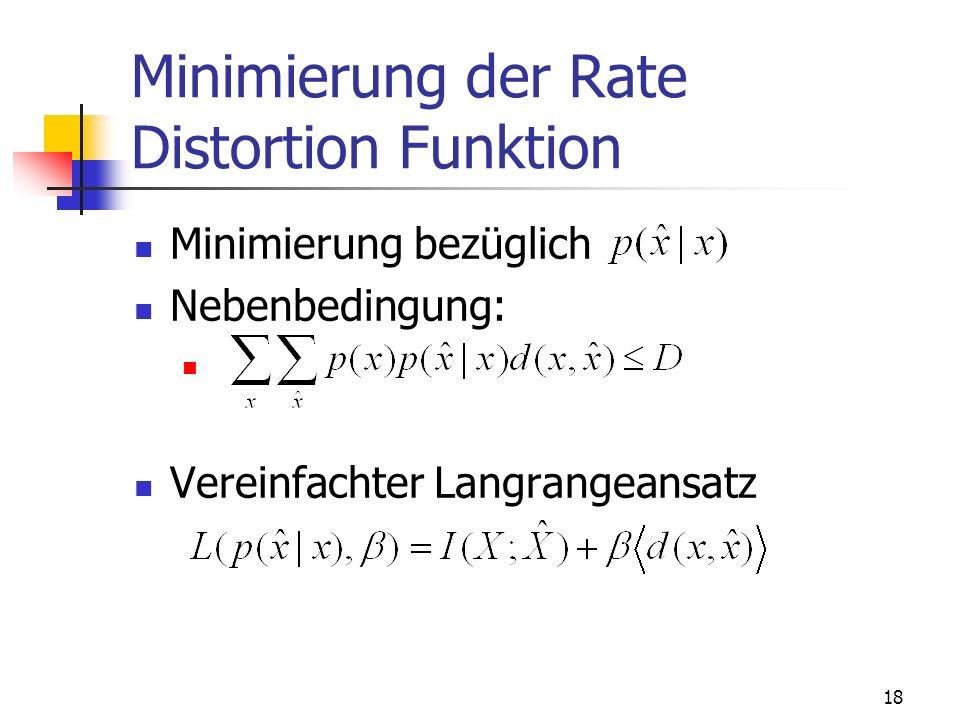 18 Minimierung der Rate Distortion Funktion Minimierung bezüglich Nebenbedingung: Vereinfachter Langrangeansatz