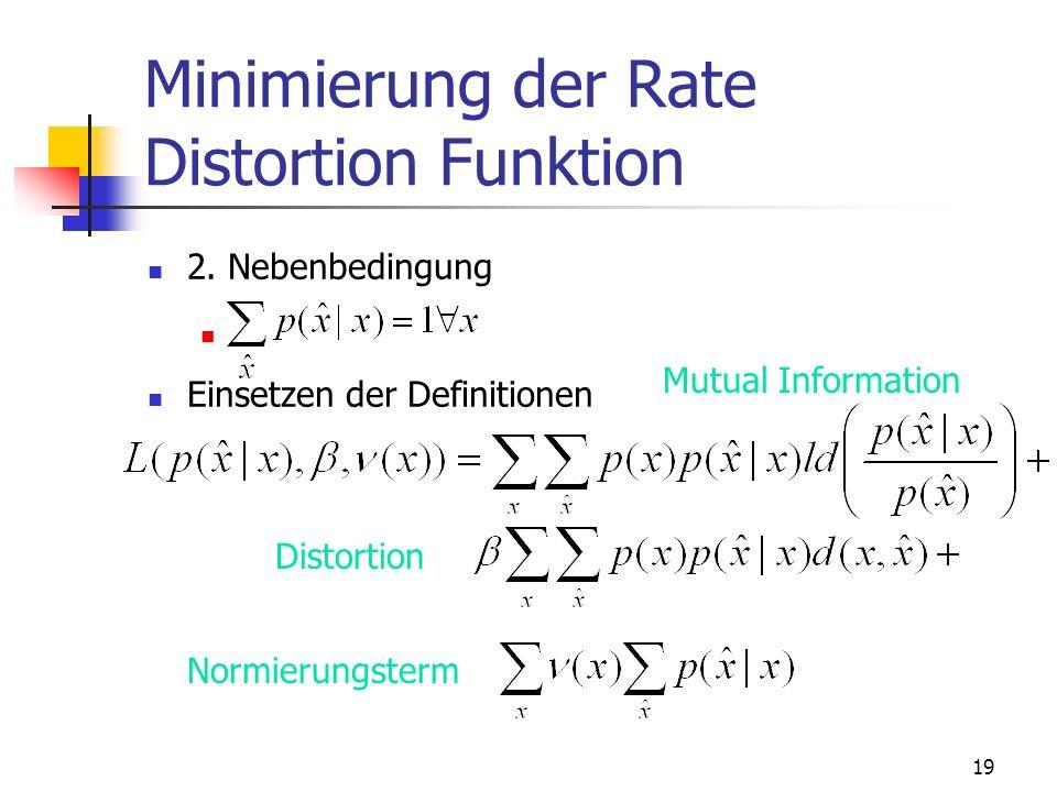 19 Minimierung der Rate Distortion Funktion 2.