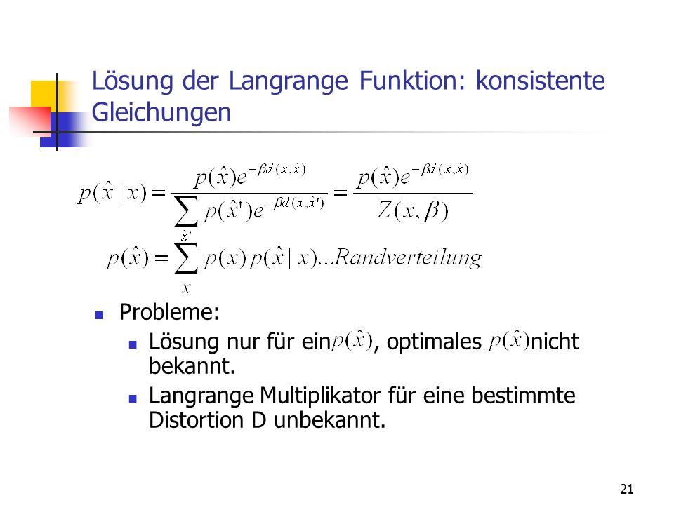 21 Lösung der Langrange Funktion: konsistente Gleichungen Probleme: Lösung nur für ein, optimales nicht bekannt.