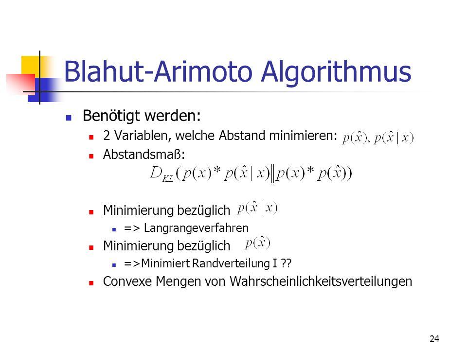 24 Blahut-Arimoto Algorithmus Benötigt werden: 2 Variablen, welche Abstand minimieren: Abstandsmaß: Minimierung bezüglich => Langrangeverfahren Minimierung bezüglich =>Minimiert Randverteilung I ?.