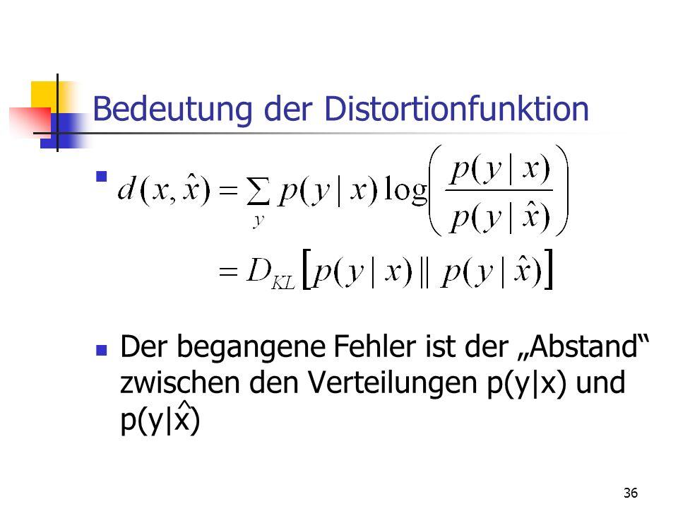 36 Bedeutung der Distortionfunktion Der begangene Fehler ist der Abstand zwischen den Verteilungen p(y|x) und p(y|x) ^