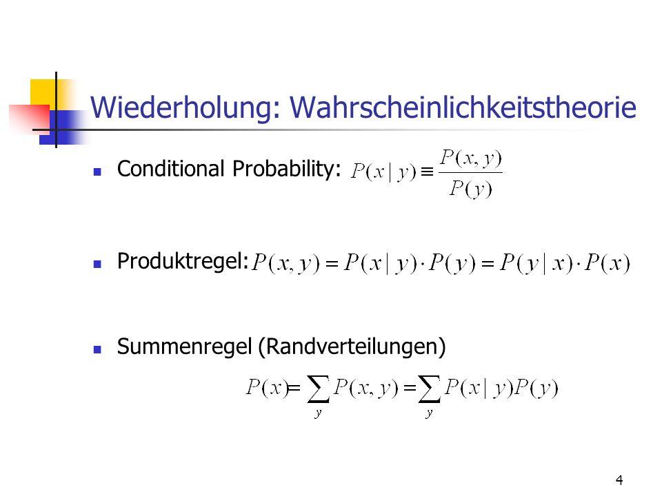 4 Wiederholung: Wahrscheinlichkeitstheorie Conditional Probability: Produktregel: Summenregel (Randverteilungen)