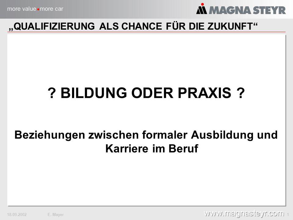 18.09.2002E. Mayer 1 www.magnasteyr.com . BILDUNG ODER PRAXIS .