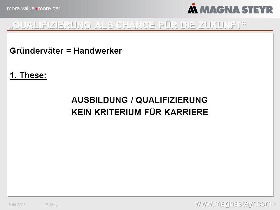 18.09.2002E. Mayer 2 www.magnasteyr.com Gründerväter = Handwerker 1.