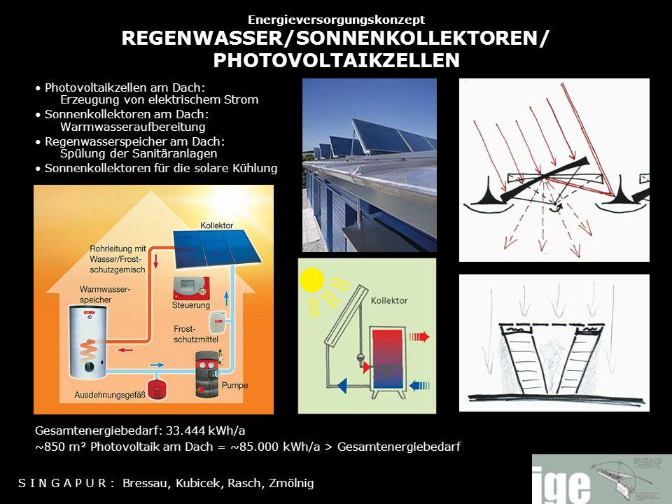 Energieversorgungskonzept REGENWASSER/SONNENKOLLEKTOREN/ PHOTOVOLTAIKZELLEN Photovoltaikzellen am Dach: Erzeugung von elektrischem Strom Sonnenkollekt