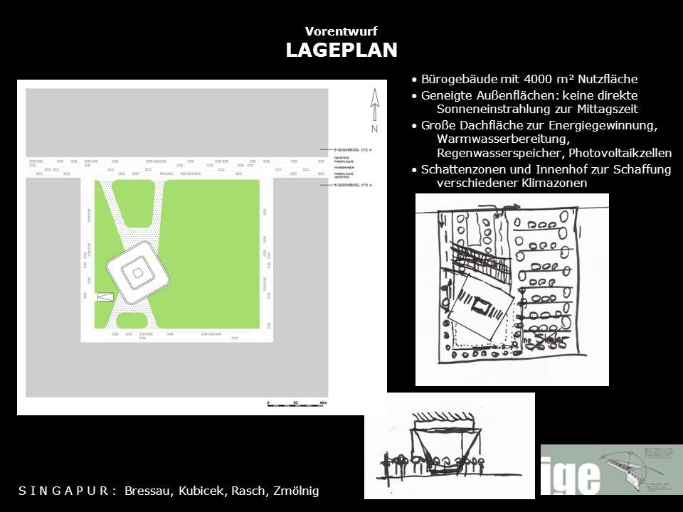 Vorentwurf LAGEPLAN Bürogebäude mit 4000 m² Nutzfläche Geneigte Außenflächen: keine direkte Sonneneinstrahlung zur Mittagszeit Große Dachfläche zur En