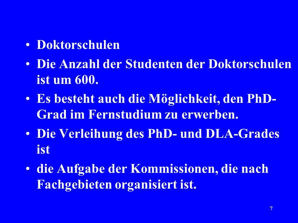 7 Doktorschulen Die Anzahl der Studenten der Doktorschulen ist um 600. Es besteht auch die Möglichkeit, den PhD- Grad im Fernstudium zu erwerben. Die