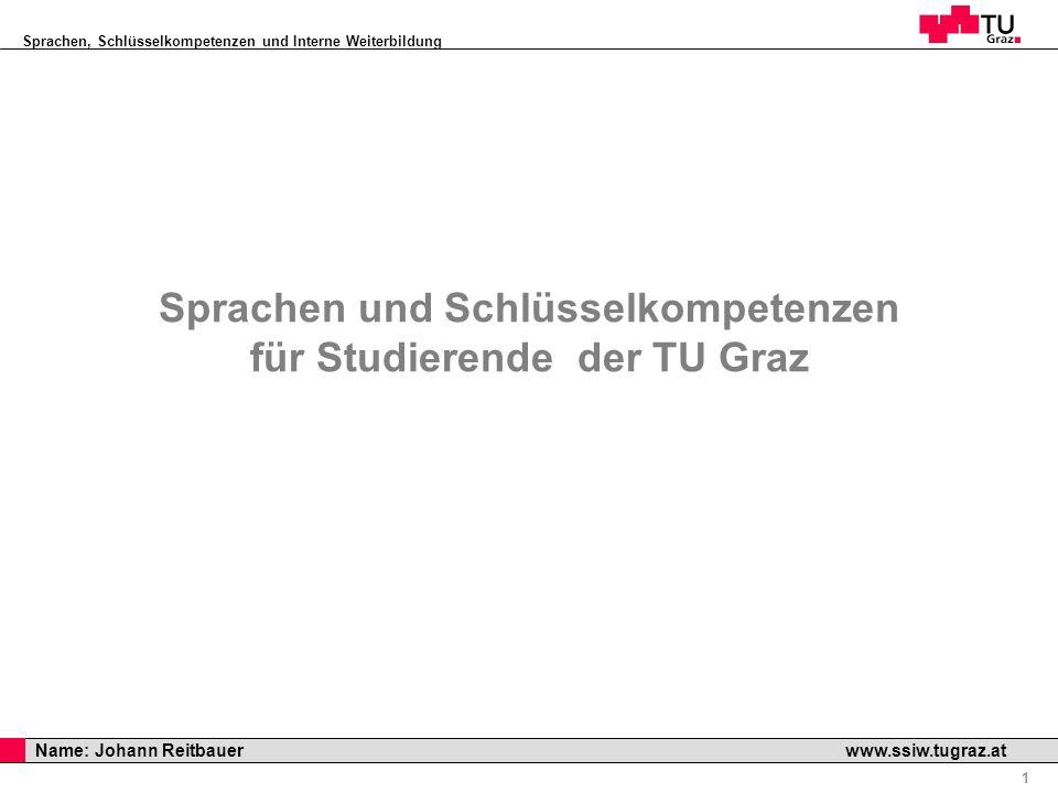 Sprachen, Schlüsselkompetenzen und Interne Weiterbildung Professor Horst Cerjak, 19.12.2005 1 Name: Johann Reitbauer www.ssiw.tugraz.at Sprachen und S