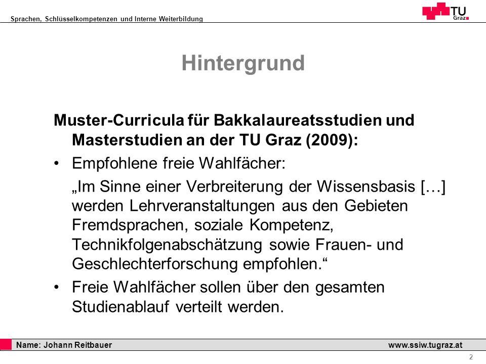 Sprachen, Schlüsselkompetenzen und Interne Weiterbildung Professor Horst Cerjak, 19.12.2005 2 Name: Johann Reitbauer www.ssiw.tugraz.at Hintergrund Mu