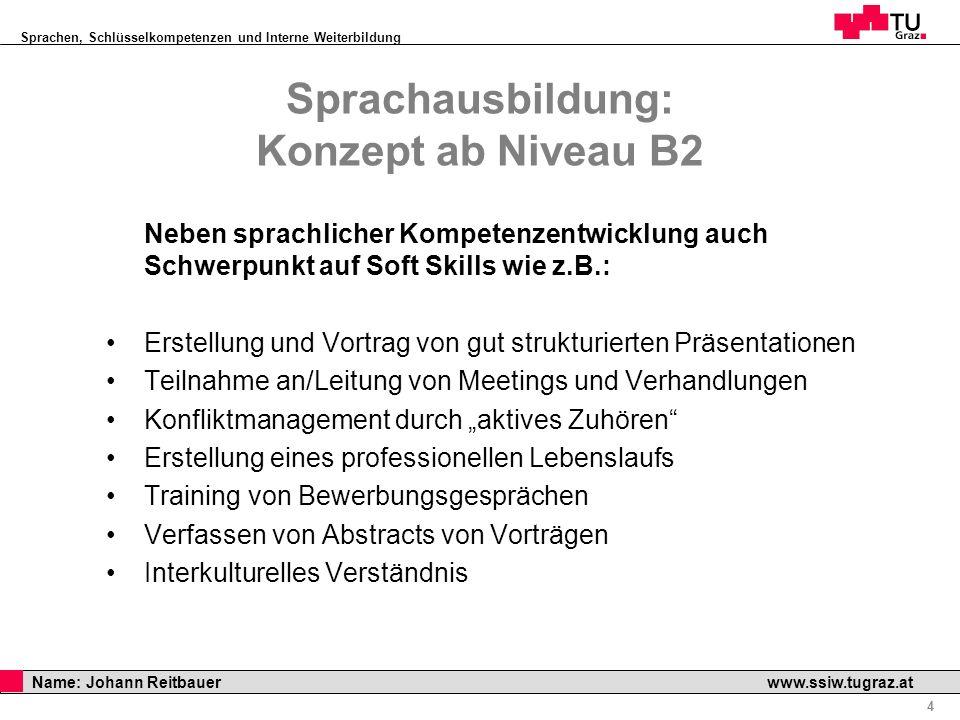 Sprachen, Schlüsselkompetenzen und Interne Weiterbildung Professor Horst Cerjak, 19.12.2005 4 Name: Johann Reitbauer www.ssiw.tugraz.at Sprachausbildu